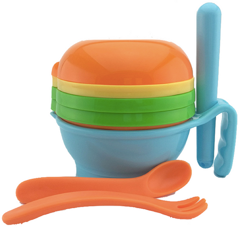 Baby Food Grinder/Masher 9pcs Set- Blue/Orange