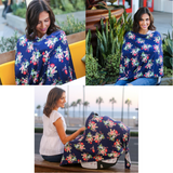 Nursing Cover 100x85cm - Navy Floral
