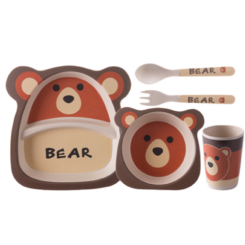 Bamboo Fiber Tableware 5pcs Set - Bear
