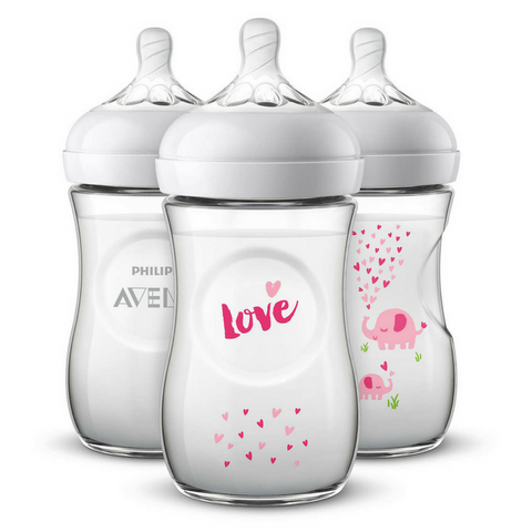 Philips Avent Natural Bottle 260ml Decorated (3 Bottles) - Pink Elephant