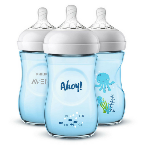 Philips Avent Natural Bottle 260ml Coloured Decorated (3 Bottles) - Blue Ahoy
