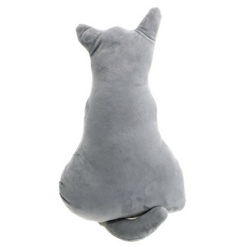 Cat Shape Back Pillow Cushion - Grey