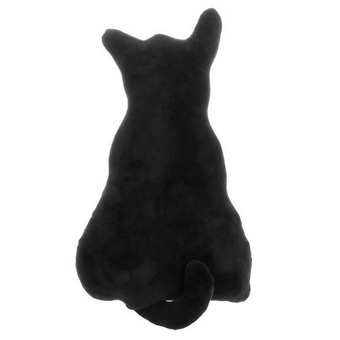Cat Shape Back Pillow Cushion - Black