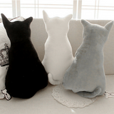 Cat Shape Back Pillow Cushion - White