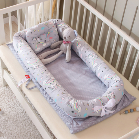 Baby Lounger Bed - Grey Unicorn