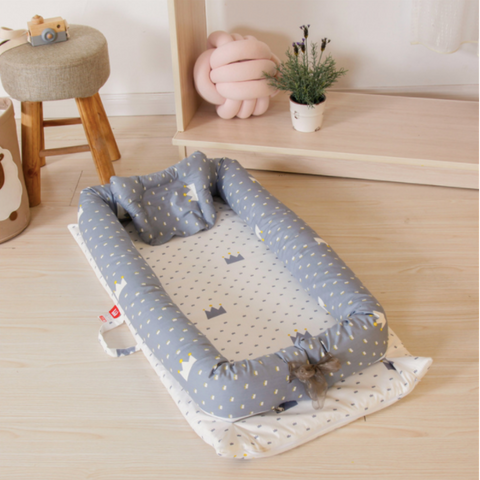 Baby Lounger Bed - Grey White Crown