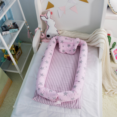 Baby Lounger Bed - Pink Star