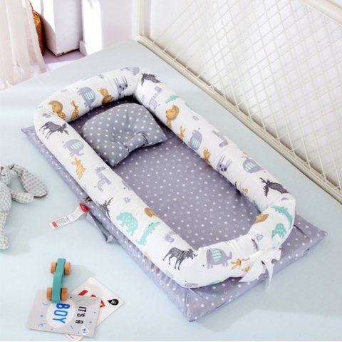 Baby Lounger Bed - Grey Animal