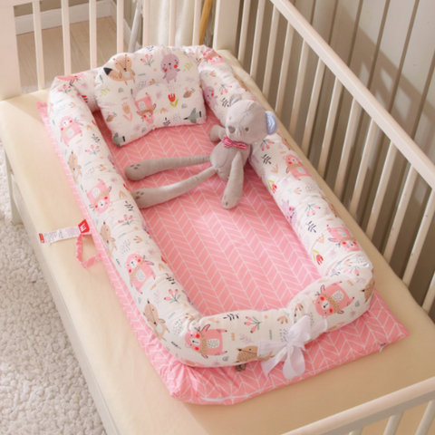 Baby Lounger Bed - Jungle Friends (Pink)