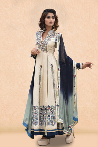 Offwhite Angrakha Kurta With Ruched Sleeves, Ombre Shaded Dupatta and Navy Blue Palazzo