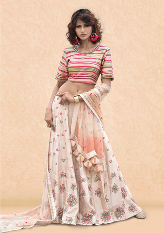 Stripe Embroidered Blouse With Beige Lehnga And Tie-Die Organza Dupatta