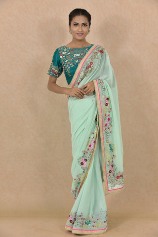 Aqua Embroidered Saree With Green Embroidered Blouse