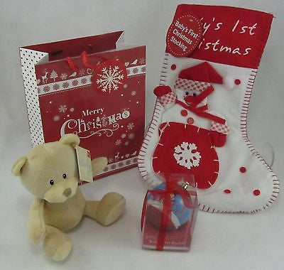 Baby's First Christmas Gift Set with Teddy - Tiny Togs Ltd