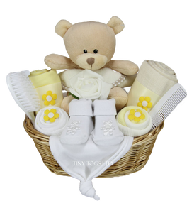 Neutral Gift Basket with Cute Teddy - Tiny Togs Ltd