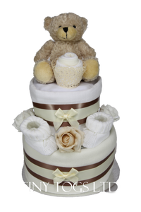 Neutral Two Tier Nappy Cake with Cute Bear - Tiny Togs Ltd