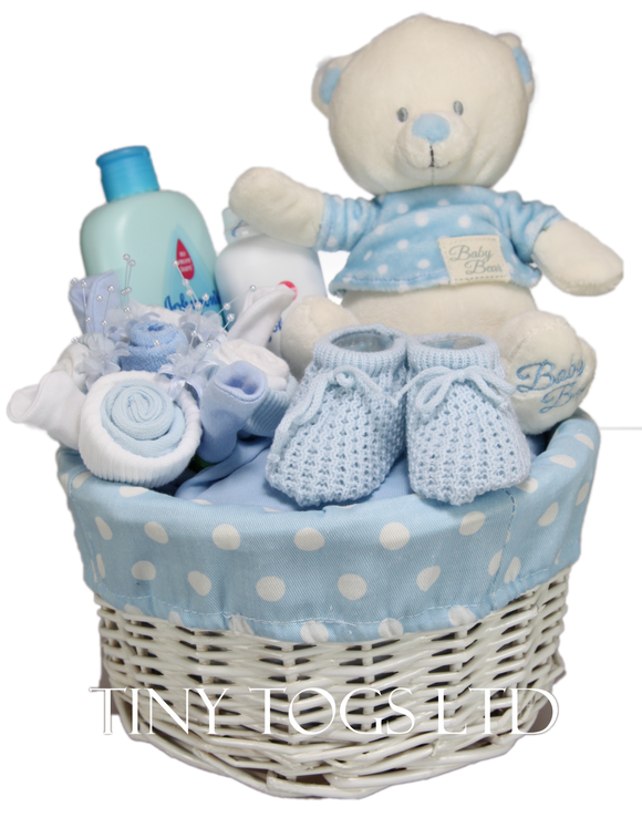 Baby Boy Basket Hamper with Cute Teddy and Clothes Bouquet - Tiny Togs Ltd