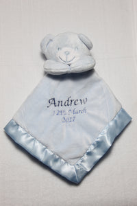 Personalised Embroidered Baby Super Soft Teddy Bear Comforter Blanket Blankie - Tiny Togs Ltd