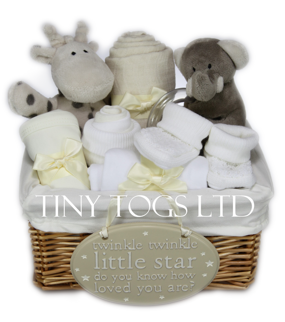 Neutral Gift Basket Hamper with cute Elli and Raff Toys - Tiny Togs Ltd