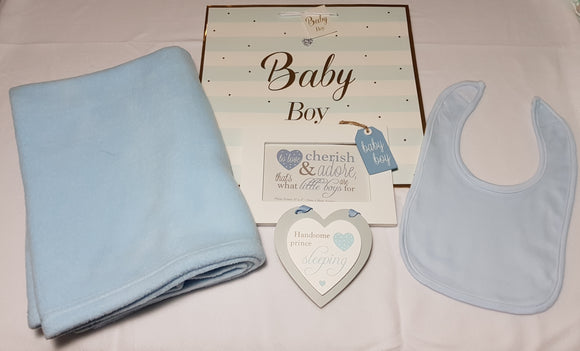 Personalised Embroidered Blanket and Bib Gift Set with Wall Plaque and Photo Frame - Baby Boy - Tiny Togs Ltd