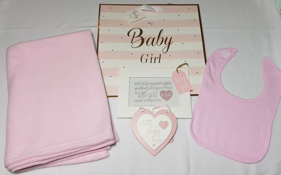 Personalised Embroidered Blanket and Bib Gift Set with Wall Plaque and Photo Frame - Baby Girl - Tiny Togs Ltd