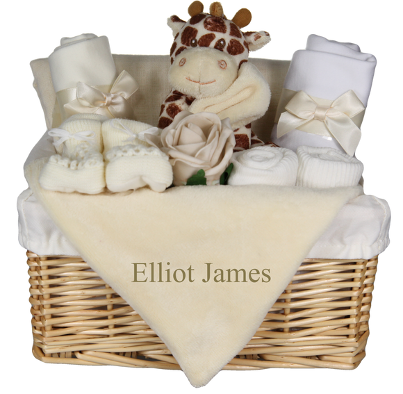 Cute Giraffe Themed Baby Gift Basket with Personalised Embroidered Giraffe Comforter Blankie - Tiny Togs Ltd