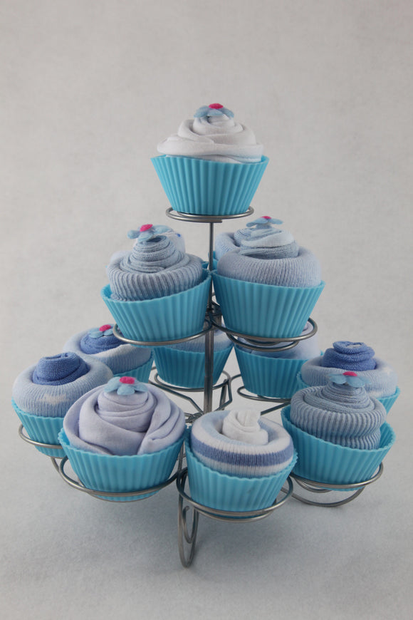 Baby Clothes Cupcakes with Cake Stand in Blue - Tiny Togs Ltd