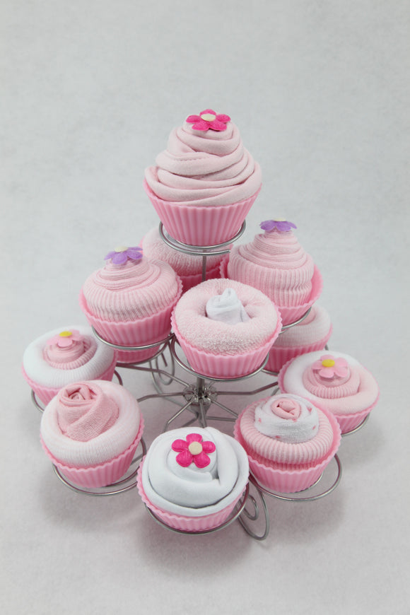 Baby Clothes Cupcakes with Cake Stand in Pink - Tiny Togs Ltd