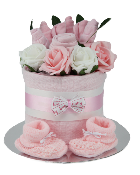 Baby Girl Clothes Flower Bouquet Nappy Cake - Tiny Togs Ltd