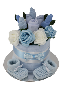 Baby Boy Clothes Flower Bouquet Nappy Cake - Tiny Togs Ltd