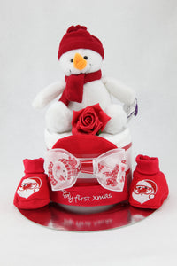 Baby Boy or Girl Single or Two Tier Christmas Nappy Cake with Gorgeous Soft Snowman - Tiny Togs Ltd
