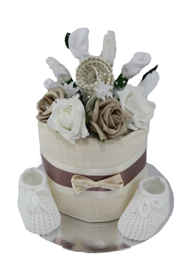 Neutral Clothes Flower Bouquet Nappy Cake in Cream - Tiny Togs Ltd