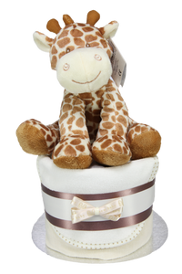 Neutral Single Tier Nappy Cake with Gorgeous Soft Giraffe - Tiny Togs Ltd