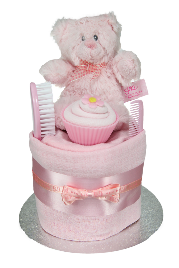 Baby Girl Single Tier Nappy Cake with Cupcake - Tiny Togs Ltd