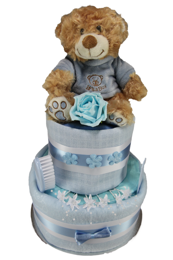 Baby Boy Two Tier Nappy Cake with Cute 'It's a Boy' Teddy Bear - Tiny Togs Ltd