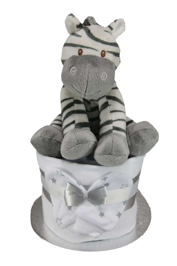 Neutral Single Tier Nappy Cake with Adorable Plush Zebra - Tiny Togs Ltd
