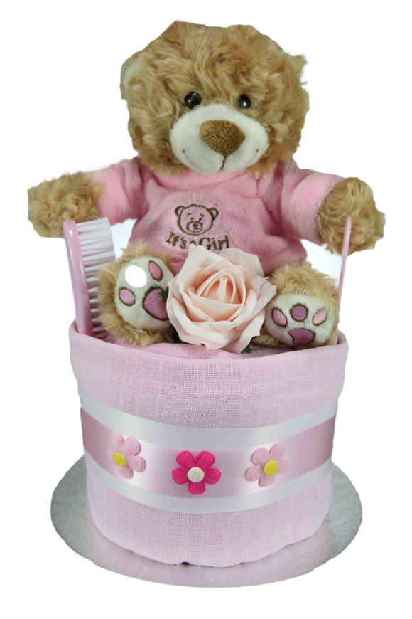 Baby Girl Single Tier Nappy Cake with Cute 'It's a Girl' Teddy Bear - Tiny Togs Ltd