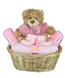 Baby girl gift basket hamper with cute its a girl teddy tiny baby girl gift basket hamper with cute its a girl teddy tiny togs negle Choice Image