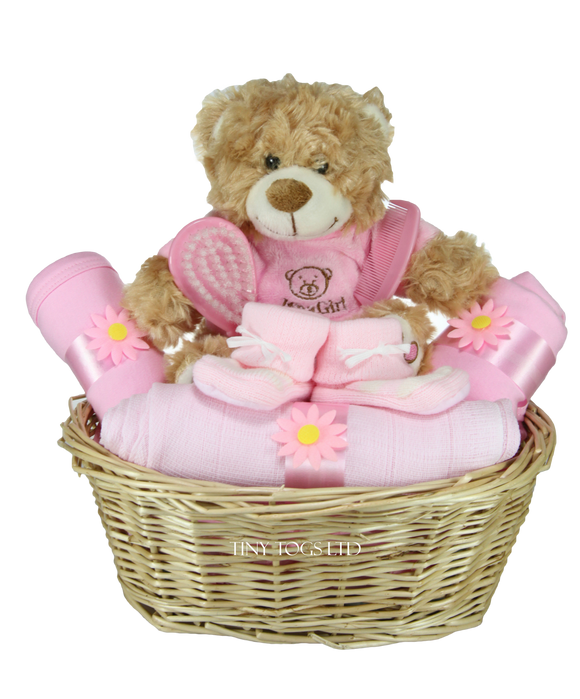 Baby girl gift baskets tiny togs ltd baby girl gift basket hamper with cute its a girl teddy tiny togs negle Choice Image