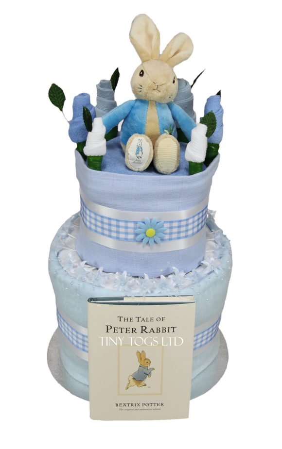 Baby Boy Two Tier Nappy Cake with Peter Rabbit - Tiny Togs Ltd