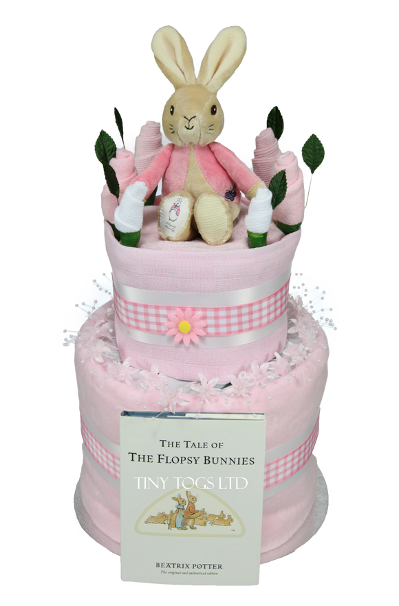 Baby Girl Two Tier Nappy Cake with Flopsy Bunny - Tiny Togs Ltd