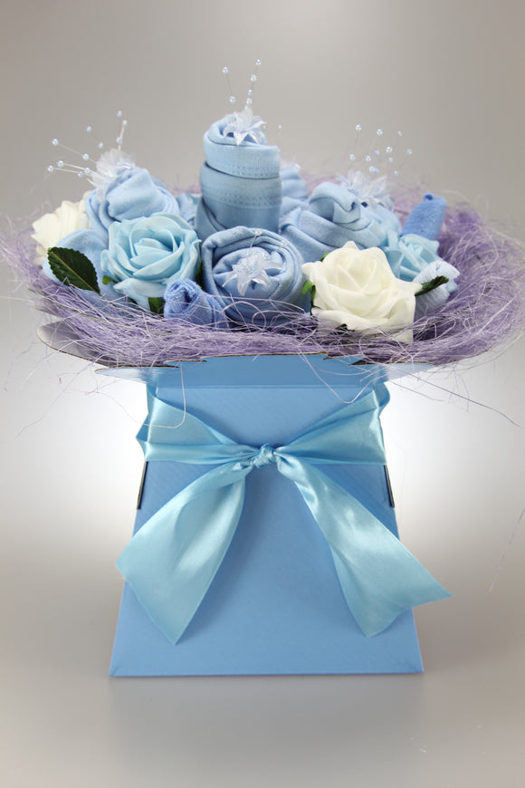 Baby Boy Clothes Flower Bouquet in Blue - Tiny Togs Ltd