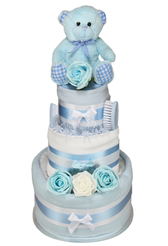 Baby Boy Three Tier Luxury Nappy Cake with Cute Teddy Bear - Tiny Togs Ltd