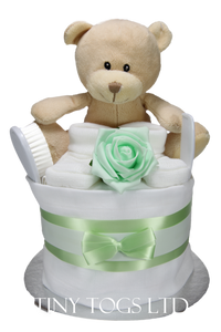 Neutral Single Tier Nappy Cake in Mint - Tiny Togs Ltd