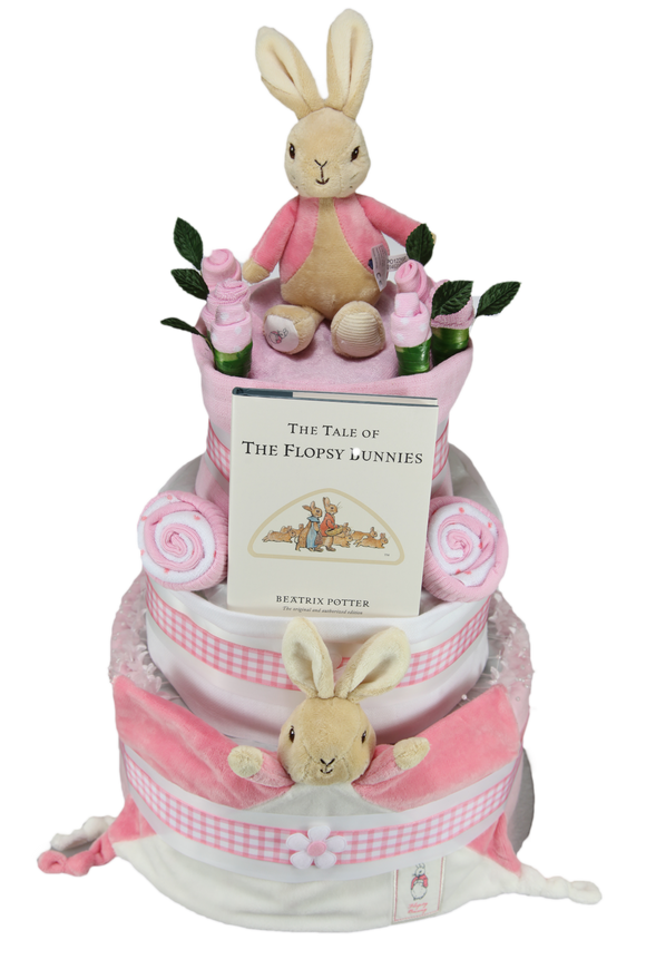 Luxury Flopsy Bunny Three Tier Nappy Cake with a 5 Piece Bunny Themed Layette Set - Tiny Togs Ltd