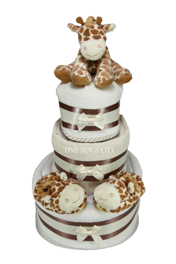 Luxury Neutral Three Tier Nappy Cake with Cute Giraffe - Tiny Togs Ltd