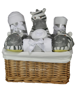 Neutral Gift Basket Hamper with a Cute Zebra New Born Gift - Tiny Togs Ltd