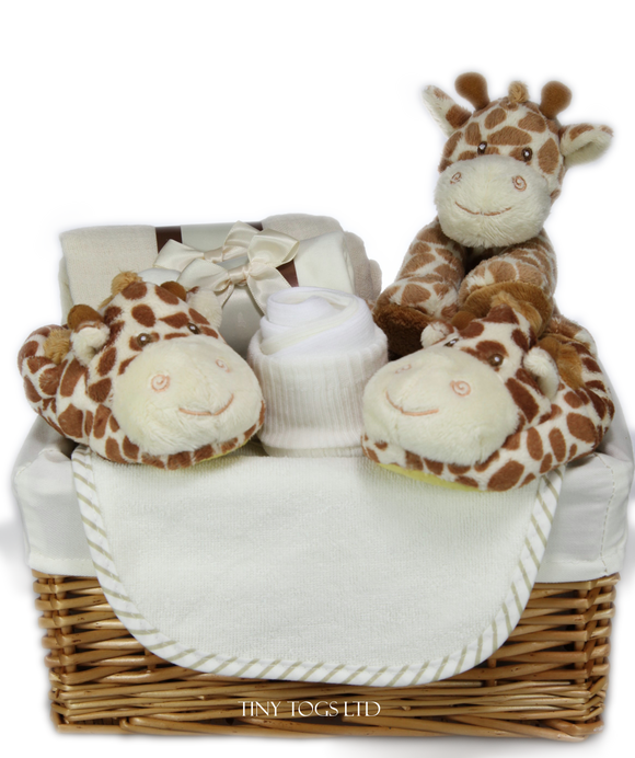 Neutral Gift Basket Hamper with a Cuddly Giraffe New Born Gift - Tiny Togs Ltd
