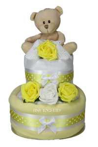 Neutral Two Tier Nappy Cake in Lemon with Cute Teddy - Tiny Togs Ltd