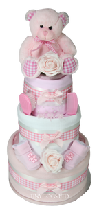 Baby  Girl Three Tier Luxury Nappy Cake with Cute Teddy Bear - Tiny Togs Ltd