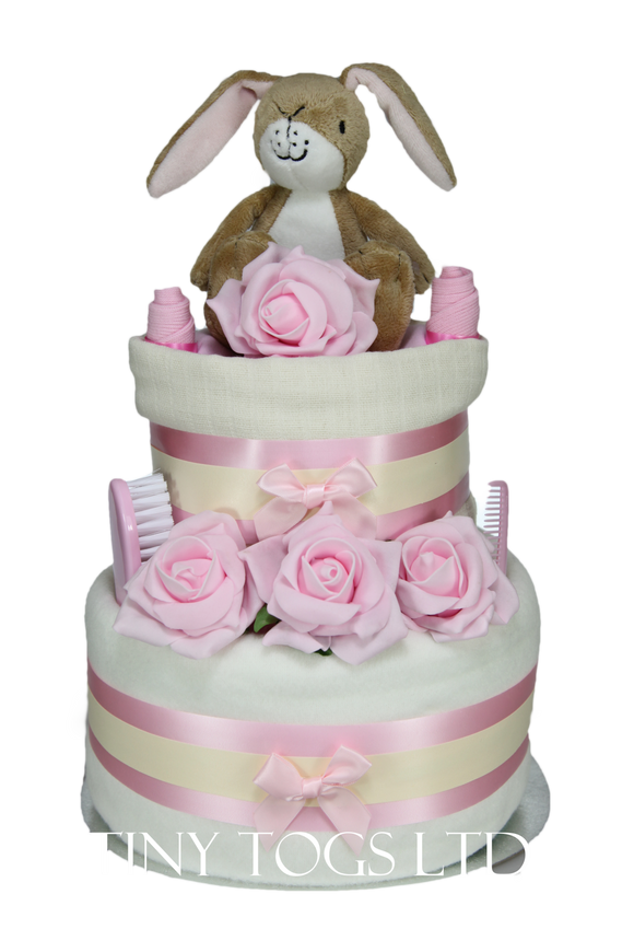 Baby Girl Two Tier Nappy Cake with Guess How Much I Love You Nutbrown Hare - Tiny Togs Ltd